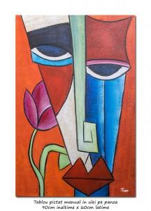 poza Portret cubist (1) - 90x60cm tablou ulei pe panza, superb!