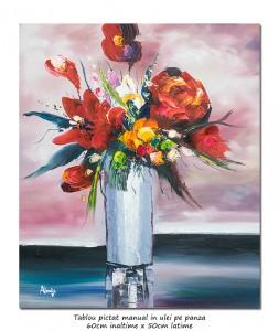 poza Bucurie (1) - 60x50cm tablou floral modern in cutit, efect 3D, Magnific!