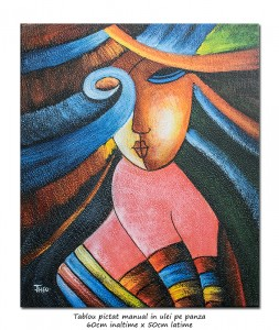 Poza Another woman_s face (3) - tablou cubist ulei pe panza 60x50cm, superb!