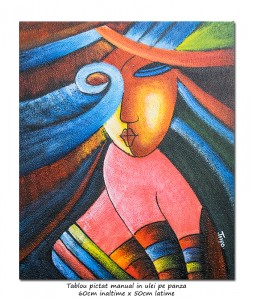 poza Another woman_s face (1) - tablou cubist ulei pe panza 60x50cm, superb!