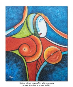 poza Another woman_s face (6) - tablou cubist ulei pe panza 60x50cm, superb!