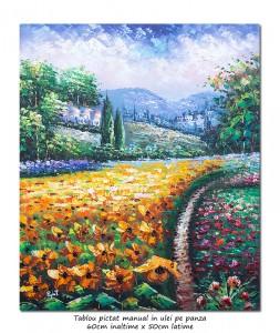 poza Peisaj stilizat cu flori (1) - 60x50cm ulei pe panza in cutit, efect 3D