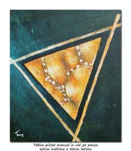 poza Tablou abstract modern - Triunghi (2) - 60x50cm ulei pe panza, Superb!