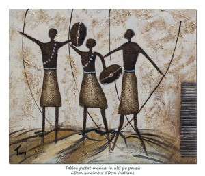 poza La vanatoare (2) - 60x50cm pictura moderna ulei in relief, efect 3D, Superb!