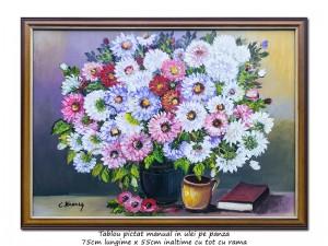 poza Vaza cu flori si carte - 75x55cm cu rama, ulei pe panza, Magistral!