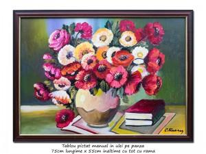 poza Vaza cu anemone, maci si carti - 75x55cm cu rama, ulei pe panza, Magistral!