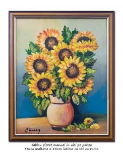 poza Ulcica cu floarea soarelui - inramat 55x45cm ulei pe panza, Magistral!