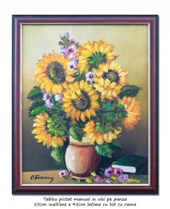 poza Ulcica cu floarea soarelui si carte - ulei pe panza, cu rama 55x45cm, Magnific!
