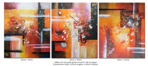 poza Trio abstract nr.4 - tablou 3 piese ulei pe panza 150x60cm, Superb!