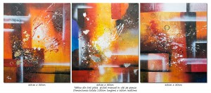 poza Trio abstract nr.8 - tablou 3 piese a cate 60x50cm, modern