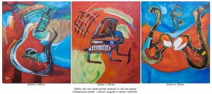 poza Tablou 3 piese - Music and dance (3) - ulei pe panza 150x60cm, Spectaculos!
