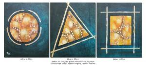 poza Forme geometrice (1) - tablou triptic abstract - 3 piese - 150x60cm