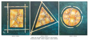 poza Forme geometrice (3) - tablou triptic abstract - 3 piese - 150x60cm