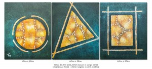 poza Forme geometrice (4) - tablou triptic abstract - 3 piese - 150x60cm