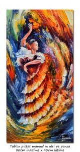 poza Flamenco (2), stilizat - 80x40cm ulei in cutit efect 3D, Spectaculos!