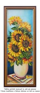 poza Ulcica cu floarea soarelui - tablou inramat 75x30cm ulei pe panza, Superb!