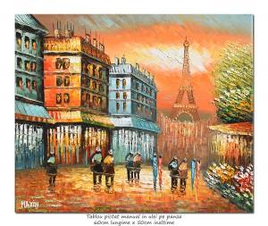 poza Paris - Vedere turnul Eiffel (2), stilizat - 60x50cm ulei pe panza in cutit efect 3D, superb!