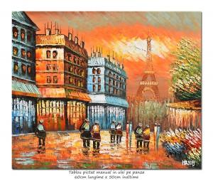poza Paris - Vedere turnul Eiffel (3), stilizat - 60x50cm ulei pe panza in cutit efect 3D, superb!