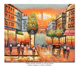Paris - scena stradala (1), stilizat - 60x50cm ulei pe panza in cutit efect 3D, Superb!