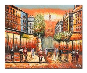 poza Paris - scena stradala (2), stilizat  - 60x50cm ulei pe panza in cutit efect 3D, Superb!