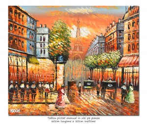 poza Paris - scena stradala (6), stilizat - 60x50cm ulei pe panza in cutit efect 3D, Superb!
