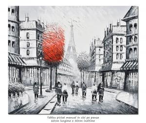 poza Paris in alb/negru, scena stradala (3), stilizat - 60x50cm ulei in cutit efect 3D, Superb!