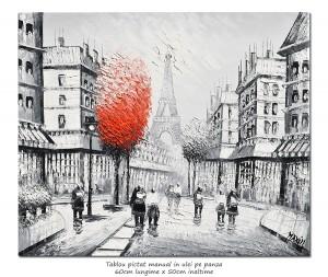 poza Paris in alb/negru, scena stradala (5), stilizat - 60x50cm ulei in cutit efect 3D, Superb!