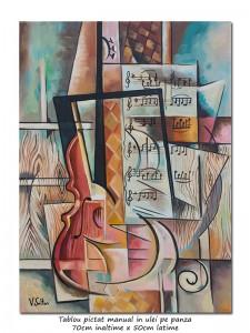 poza Muzicala - 70x50cm pictura cubista, ulei pe panza, Magistral!