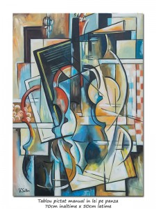 poza Compozitie muzicala clasica - 70x50cm pictura cubista, ulei pe panza, Magistral!