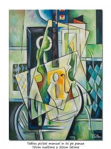 poza Muza - 70x50cm pictura cubista, ulei pe panza, Magistral!