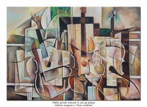poza Tablou living, dormitor - Serial music - 100x70cm cubism sintetic ulei pe panza de in, Magistral!