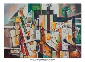 poza Tablou birou, living - Inspiratie divina - pictura cubism sintetic, ulei pe panza 100x70cm, Magistral!