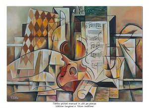 poza Tablou birou, living - Relaxing music - 100x70cm cubism sintetic ulei pe panza, Magistral!