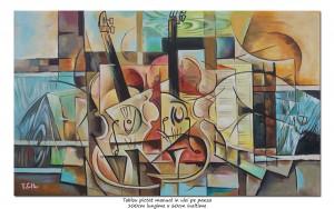poza Tablou living, dormitor, birou - Rapsodie - 100x60cm cubism sintetic ulei pe panza, Magistral!