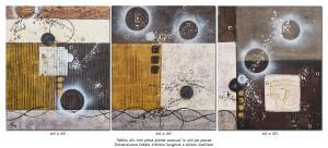poza Tablou abstract 3 piese - Calatorie prin spatiu - 150x60cm ulei pe panza, Spectaculos!