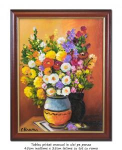 poza Ulcele cu anemone - 45x35cm tablou inramat ulei pe panza, Superb!