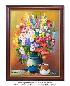 poza Ulcica cu anemone si maci - 45x35cm tablou inramat ulei pe panza, Superb!
