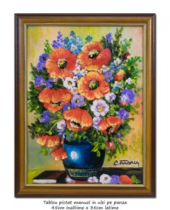 poza Ulcica cu maci, albastratele,margarete si carte - inramat 45x35cm tablou ulei pe panza, Superb!