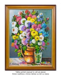 poza Carafa cu flori multicolore -  tablou inramat 45x35cm ulei pe panza, Superb!