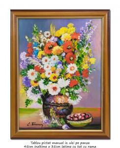 poza Carafa cu maci, margarete si tufanele - tablou inramat 45x35cm ulei pe panza, Superb!