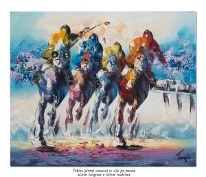 poza Cursa hipica (1) - pictura moderna in cutit 60x50cm, Superb!