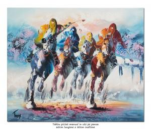 Cursa hipica  - pictura moderna in cutit 60x50cm, Superb!