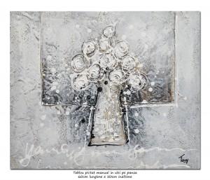 poza Trandafiri stilizati (1) - 60x50cm ulei pe panza efect 3D, Superb!