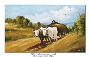 poza Car cu boi (3) - pictura ulei pe panza 100x60cm repro N. Grigorescu, Magnific!
