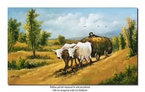 poza Car cu boi (2) - pictura ulei pe panza 100x60cm repro N. Grigorescu, Magnific!