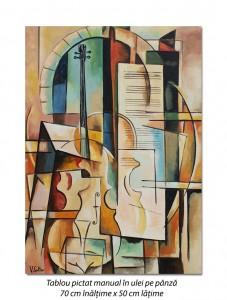 poza Sonata pentru vioara - 70x50cm pictura cubista, ulei pe panza, Magistral!