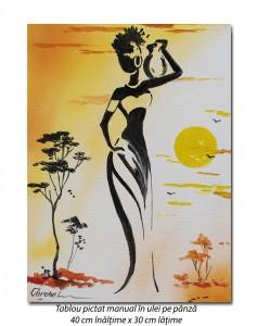 poza Silueta africana (2) - 40x30cm pictura ulei pe panza, Superb!