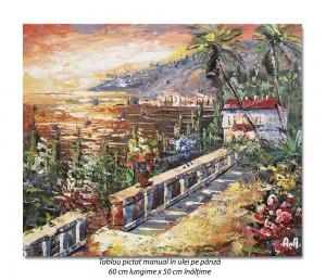 poza Golf la Mediterana (1), stilizat - tablou ulei in cutit 60x50cm, Spectaculos!