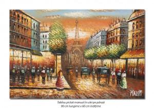 Parisul interbelic, bulevard animat (1) - 90x60cm ulei in cutit efect 3D, Superb!