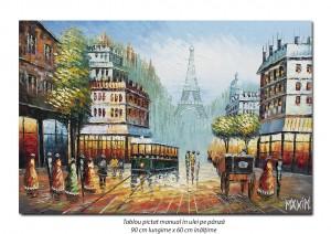 poza Parisul interbelic, bulevard animat (4) - 90x60cm ulei in cutit efect 3D, Superb!
